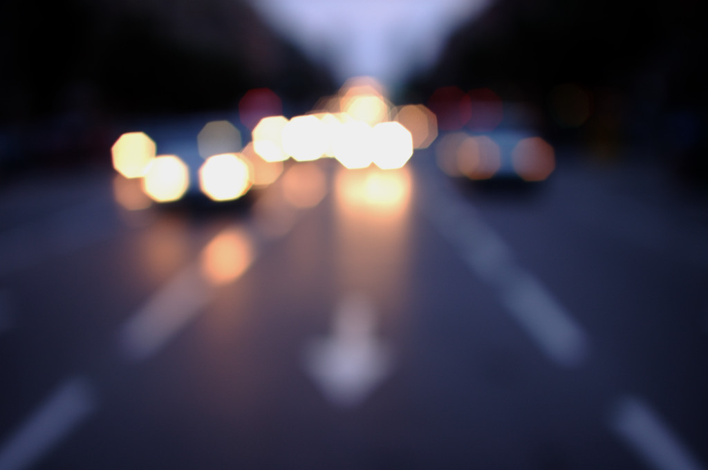 13 (balance) - arrow, blur, cars, dark, night, perspective, simetrical,